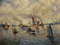 A.H. van Rosse - Old maritime port setting with smoking ship chimneys.