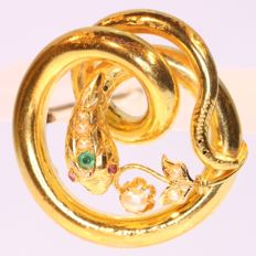 Art Nouveau gold snake or serpent brooch with real natural orient seed pearls, ca. 1890
