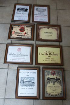 Eight Identical frames with prints of award-winning wines from wineries/vineyards, France - Mid 20th century