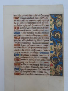 Handwritten leaf from a book of hours with red and blue wildflowers on brown and gold fields - Psalm 41 and Job 17 Lesson 7 - Tours, France - 1485