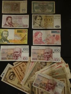 World - 199 banknotes - incl. many notes from Belgium and Germany