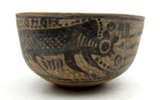 Indus Valley Painted Terracotta Bowl with Monkey Motif - 117x64mm