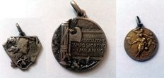 Three gorgeous sports medals, period between WWI and WWII Italy.