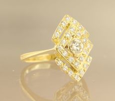 18 kt yellow gold ring set with 20 brilliant cut diamonds, approx. 1.00 carat in total, ring size 17.25 (54)