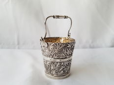 Silver salter in the shape of bucket , China , first half 20th century