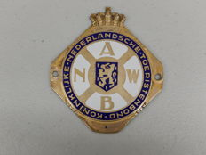 Vintage Original Early Brass and Enamel ANWB The Royal Dutch Touring Club Classic Car Badge Auto Emblem