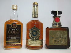 3 bottles - Suntory Gold & Suntory Excellence & Suntory Royal - 1970s