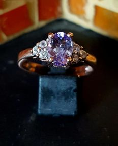 Magical tanzanite ring with rose gold