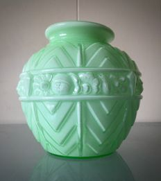 Mint-green Art Deco opaline vase with stylised floral decor in Muller Frères style