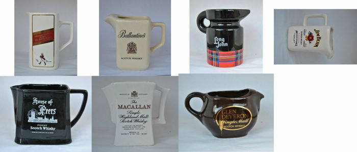 Seven advertising Whisky ceramic pitchers - country: England and Italy - Material: ceramic