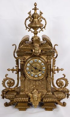 Large decorative free-standing pendulum clock, Renaissance style, mid 19th century