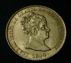 Spain - Isabel II - 80 reales in gold - Barcelona mint - Assayer p.s - 1844