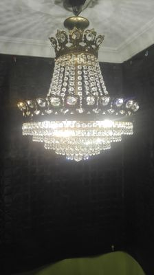 Crystal and brass chandelier lamp. 20th century