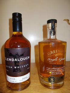 2 bottles - Greenore 8 years old Irish Whiskey (discontinued) and Glendalough Irish Whiskey Limited Edition