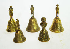 Five table bells with the crowning of Napoleon and an edge decor of legions going to war