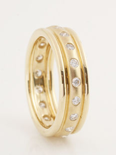 14kt. gold diamond eternity ring total 0.51 ct G-H/VS1-VS2  / 6.00gr / size 53