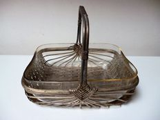 Art Deco silver plated presenting dish with glass interior