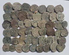 Spain - Lot of 51 Coins from Spanish Colonies of the House of Austria, 1500-1700 A.D. - Europe