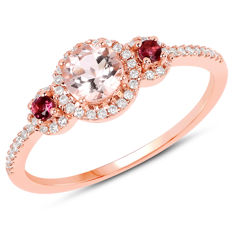 14kt ring with morganite,red tourmalin  and diamonds 0.25ct - size 17; No reserve price