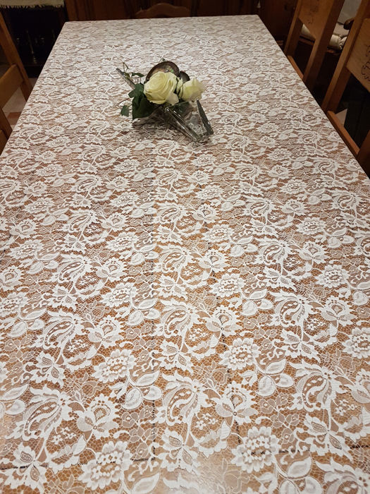Great New Oval Tablecloth Lace Of Calais Leavers White 2 M 80 X 1 M.