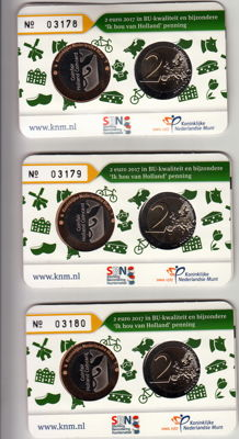 """The Netherlands - 2 Euro 2017 """"Ik Hou van Holland - Klompen"""" (I love Holland - Clogs) - three pieces - in coin cards with consecutive numbers"""