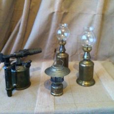 Two antique French 1860 Brass oil Lamps Lampe Olympe, 1 Max Sievert Stockholm copper plumber's petrol burner and a ship's lamp