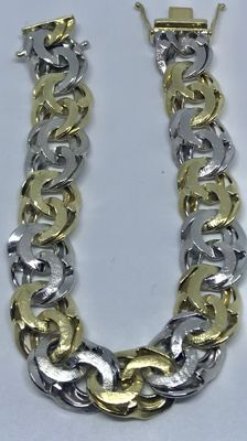 14 kt Wide, solid bi-colour gold link bracelet - Length 19 cm
