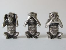 Three silver monkeys, See no evil, hear no evil, speak no evil - F.lli Menegatti, Vicenza, Italy - 1944-1968