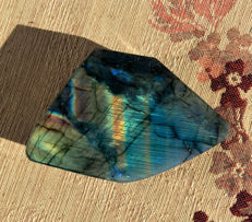 Large Polished Natural Labradorite from Madagascar - 14 x 9 x 3 cm - 607g