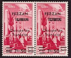 Italy, 1943 - Fezzan (French Occupation) - 7.50 fr.  on 50 c.  Libya - pair with overprinting variation - Sass.  No, 2 + 2c