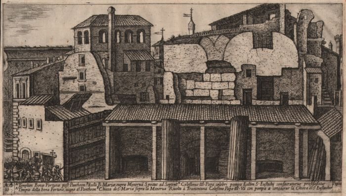 Aloisio Giovannoli (1550-1618) - The Pantheon and Basilica di Sant'Eustachio - Very rare etching from 1616