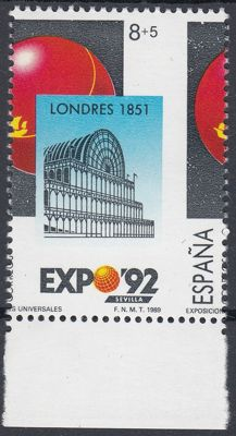 Spain 1989 - Expo Sevilla'92 Variety.  Displaced vertical perforation - Edifil 2990dh