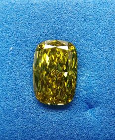 1.04 ct Cushion cut diamond Fancy Deep Brownish Greenish Yellow VS2