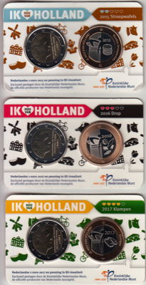 The Netherlands – 2 Euro coins 2015, 2016 and 2017 'Ik Hou van Holland' (3 different) in Coin Cards