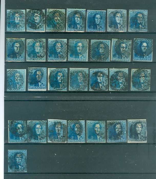 Belgium 1849 – Selection of 29 specimens of 20 cent stamps. Leopold I epaulettes – COB 2