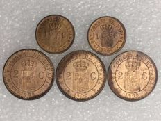 Spain – 5 coins – Alfonso XIII – 1 centimo 1906 (2) – 2 centimos 1905 (3) – Copper – Uncirculated