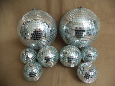 eight christmas disco balls.