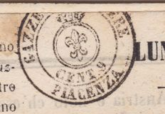 Parma 1853 - Postage due for newspapers, 9 c, Piacenza stamp on the 'Gazzetta Ufficiale di Milano' - Sassone No. B2