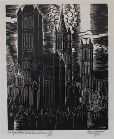 Frans Masereel (1889-1972) - De torens van Gent - limited edition no. 55 / 750 - dated 1962
