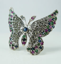 Large Butterfly set with natural Sapphires, Emeralds, Rubies & Marcasite - Brooch ***No reserve price***