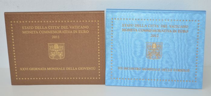 Vatican - 2 Euro 2011 'World Youth Day in Madrid' + 2 Euro 2012 'World Family Day'
