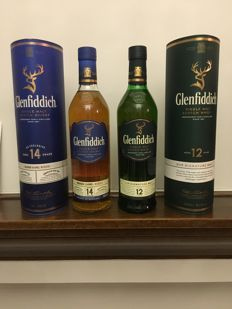 2 bottles - Glenfiddich 14 years old Bourbon Barrel Reserve US Exclusive & Glenfiddich 12 years old single Malt