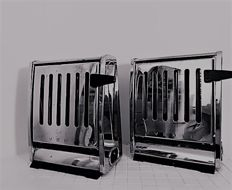 Inventum double toasters - chromed metal and bakelite - Two pieces