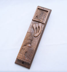 Judaica - Mezuzah Cover - Olive tree wood - Landscape of Rachel's Tomb & Western Wall - Jerusalem - ca. 1940's