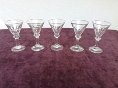 "Seven crystals ""umbrella"" wine glasses with knot, England or the Netherlands, 19th century"