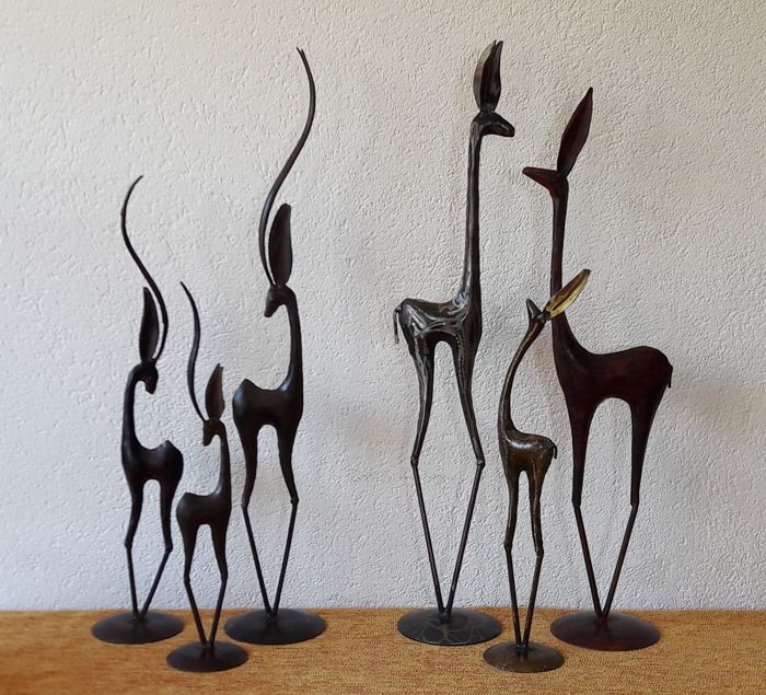 Decorative collection of six gazelle or deer - height up to 55.5 cm - metal