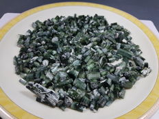 Large lot of Green Cats Eye Effect Tourmaline Crystals - 1480ct