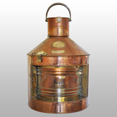 Very large brass boat lamp (starboard lantern) 112.5 °