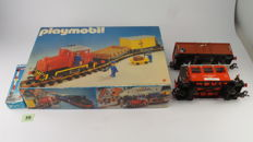 Track G - Playmobil - Set with diesel locomotive, two goods wagons and rails with additional steam locomotive, carriage and goods wagon