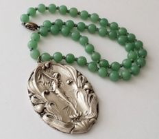 Art Nouveau style silver plated pendant with Jade necklace,  ca 1920's, 52.1 grams